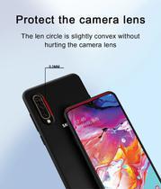 Capa Silicone Cover Aveludada Samsung Galaxy A70 (PRETA) + Película de gel 3D 4D 5D cobre 100% Display - Rugged