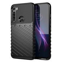Capa Silicone Lines Motorola One Fusion Plus  Preto - Oem