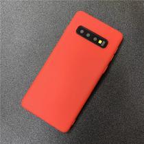 Capa Slim Fosca (Vermelha) Premium Samsung Galaxy S10 Plus Tela 6.5 + 01 Película De Gel 5D Cobre 100% Tela - Dv Acessorios
