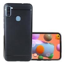 Capa Tpu Preta Escovada Samsung Galaxy A01 + Película de gel - Dvacessorios