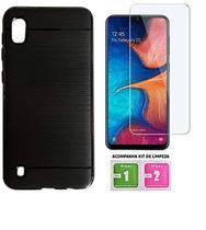 Capa Tpu Preta Escovada Samsung Galaxy A10 + Película de Gel Cobre 100% display - Hmaston