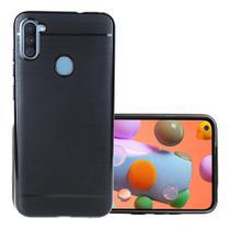 Capa Tpu Preta Escovada Samsung Galaxy A11 + Película de gel - Dv Acessorios