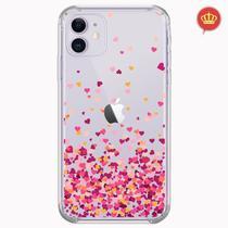 Capa Transparente Chuva Corações iPhone 11 6.1 Polegadas - Coronitas Acessorios