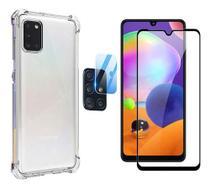 Capa Transparente + Película de Vidro Câmera Samsung Galaxy A31 + Película 3D Frontal - Pixmobi