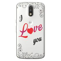 Capa Transparente Personalizada Exclusiva Motorola Moto G4 Play I Love You - TP140