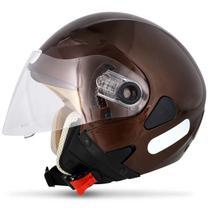 Capacete Aberto EBF Freedom Solid Marrom com Viseira Solar - Ebf capacetes