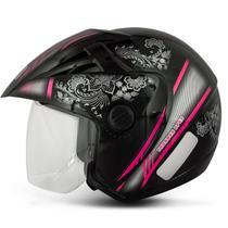 Capacete Aberto EBF Thunder Open Mandala Preto e Rosa - Ebf capacetes