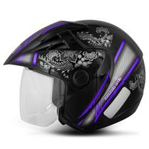 Capacete Aberto Feminino EBF Thunder Open Mandala Preto e Lilas - Ebf capacetes