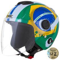 Capacete Aberto New Atomic Pro Tork Brasil Amarelo E Verde -