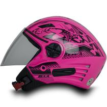 Capacete Aberto Para Moto Feminino X Open Neon Rosa Tam 60 - FW3