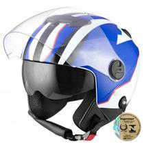 Capacete Aberto Pro Tork New Atomic Superbike Azul E Branco -