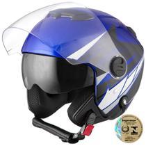 Capacete Aberto Pro Tork New Atomic Superbike Azul E Preto -