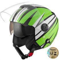 Capacete Aberto Pro Tork New Atomic Superbike Verde E Preto -
