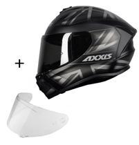 Capacete Axxis Draken UK + Viseira Fumê Masculino Feminino Esportivo Moto -