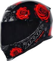 Capacete axxis eagle evo feminino flowers gloss black red -