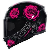 Capacete Axxis Eagle Evo Flowers Preto Rosa Feminino -