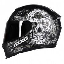Capacete Axxis Eagle Skull Preto Cinza Fosco Feminino -