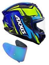 Capacete Axxis Vector Gloss Blue Yellow Com Viseira Azul -