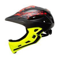 Capacete Bike Infantil fechado MTB/BMX/SKATE/PATINS Army Preto e Amarelo Fluor -