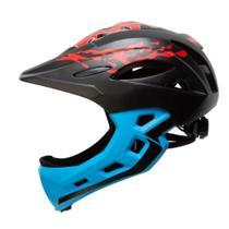 Capacete Bike Infantil fechado MTB/BMX/SKATE/PATINS Army Preto e Azul -