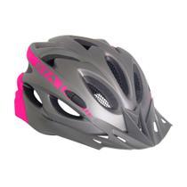 Capacete Bike MTB Com Led e Regulagem NX GTA Cinza Rosa -