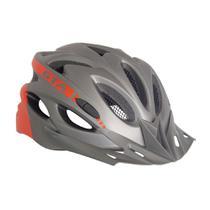 Capacete Bike MTB Com Led e Regulagem NX GTA Cinza Vermelho -