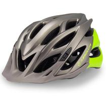 Capacete Ciclismo Bike Absolute Wild Led Cinza Titânio Verde -