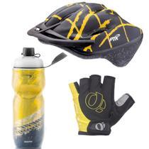 Capacete Ciclismo Garrafa Térmica Luva Bike MTb Speed Esporte Amarelo - PTK
