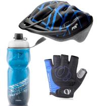 Capacete Ciclismo Garrafa Térmica Luva Bike MTb Speed Esporte Azul - PTK