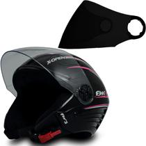Capacete Com Viseira Fumê Moto X Open Preto Rosa Tam 56 - FW3