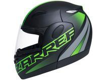 Capacete de Moto Articulado Taurus Zarref - Preto Fosco e Verde Tamanho 60