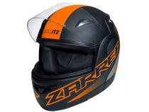 Capacete de Moto Articulado Taurus Zarref - V5 NEON Preto Fosco e Laranja Tamanho 60