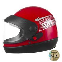 Capacete de Moto Vermelho Sport Moto  Pro Tork Automático Viseira Transparente -