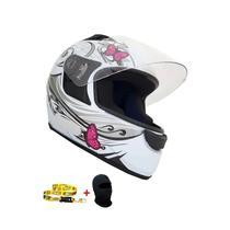 Capacete Ebf New Spark Borboleta Branco-rosa -