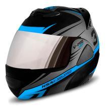 Capacete escamoteavel robocop de moto pro tork v-pro jet 3 azul claro com viseira espelhada tam 60 -