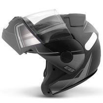 Capacete Escamoteável Robocop EBF Novo E8 Drift Preto Fosco e Prata Moto - EBF Capacetes