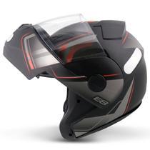 Capacete Escamoteável Robocop EBF Novo E8 Drift Preto Fosco e Vermelho Moto - EBF Capacetes