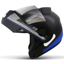 Capacete Escamoteável Robocop EBF Novo E8 Performance Preto Fosco e Azul Moto - EBF Capacetes