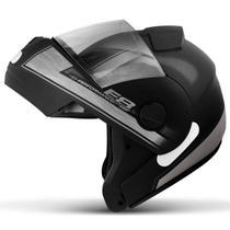 Capacete Escamoteável Robocop EBF Novo E8 Performance Preto Fosco e Prata Moto - Ebf Capacetes