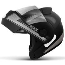 Capacete Escamoteável Robocop EBF Novo E8 Performance Preto Fosco e Prata Moto - EBF Capacetes -