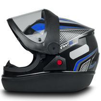 Capacete Fechado Automatic Preto com Azul Narigueira Tam 56 - Fw3