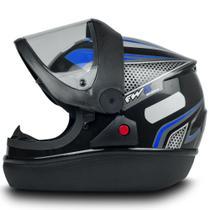 Capacete Fechado Automatic Preto com Azul Narigueira Tam 60 - Fw3 -