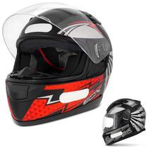 Capacete Fechado com Narigueira EBF E-Zero-X Shock Preto Fosco Prata Vermelho Moto - Ebf Capacetes
