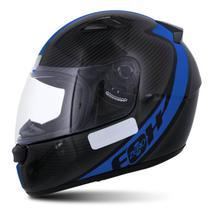 Capacete Fechado EBF E0X Spectro Preto Brilhante e Azul Moto - Ebf capacetes