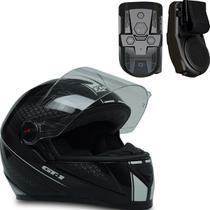 Capacete Fechado Gt1 Preto Branco 60 C Multimídia Para Moto - Fw3