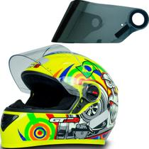 Capacete Fechado Moto Gt Turbo Amarelo 58 + Viseira Cromada - Fw3