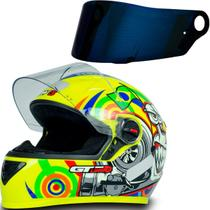 Capacete Fechado Moto Gt Turbo Amarelo Tam 58 + Viseira Azul - Fw3
