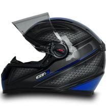 Capacete Fechado Moto Gt1 Preto E Azul Com Narigueira Tam 58 - Fw3