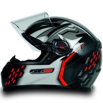 Capacete Fechado Moto Gt5 Preto Vermelho C Narigueira Tam 60 - FW3