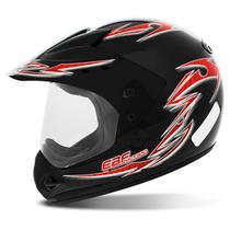 Capacete Fechado Motocross EBF Motard Street Preto e Vermelho - Ebf Capacetes
